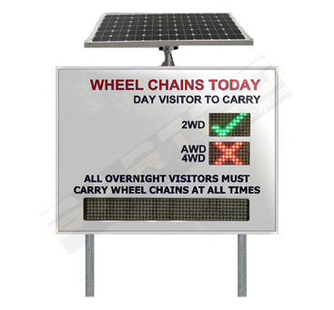 Electronic Snow / Wheel Chain Rating Sign
